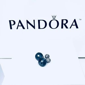 100% Authentic Pandora Midnight Blue Earrings
